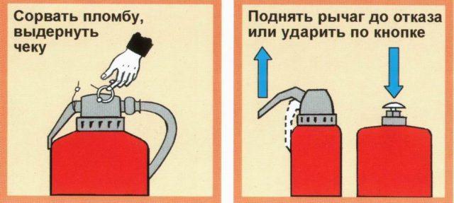 Как работать с порошковым огнетушителем