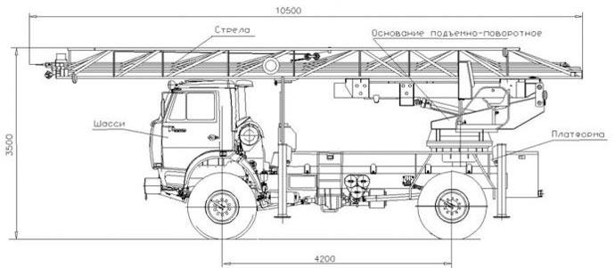 Пожарная автолестница АЛ-30 - КамАЗ-43502