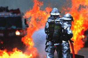 Тушение пожара специалистами